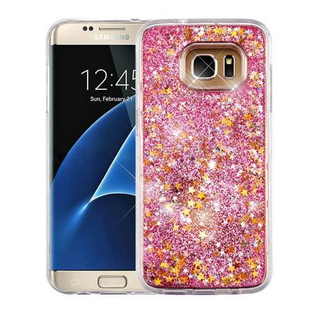 Samsung Galaxy S7 Edge Case, by Insten Stars/Pink Quicksand Glitter Hybrid Hard PC/TPU Case Cover For Samsung Galaxy S7 Edge
