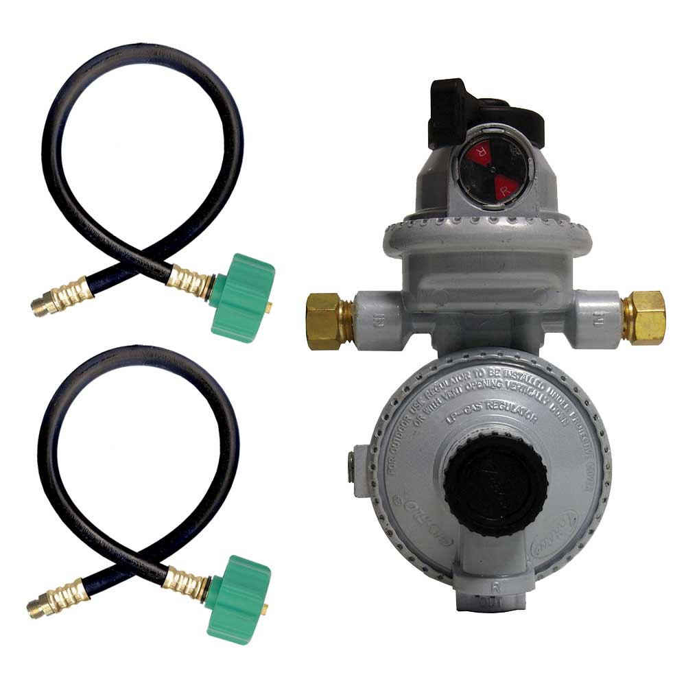 """Fairview RV Camper LP Propane 2 Stage Automatic Regulator with 2 x 15"""" QCC Acme Pigtails"""