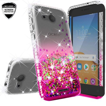 Compatible for Alcatel Tetra /5041C Case, with [Temper Glass Screen Protector] SOGA Rhinestone Liquid Quicksand Cover Cute Girl Phone Case - Clear/Pink Design Rhinestone Protector Case