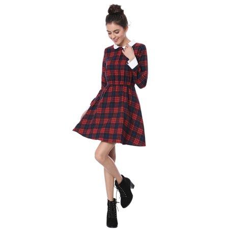 Unique Bargains Women's Contrast Peter Pan Collar Check Dress Red L - image 2 of 7