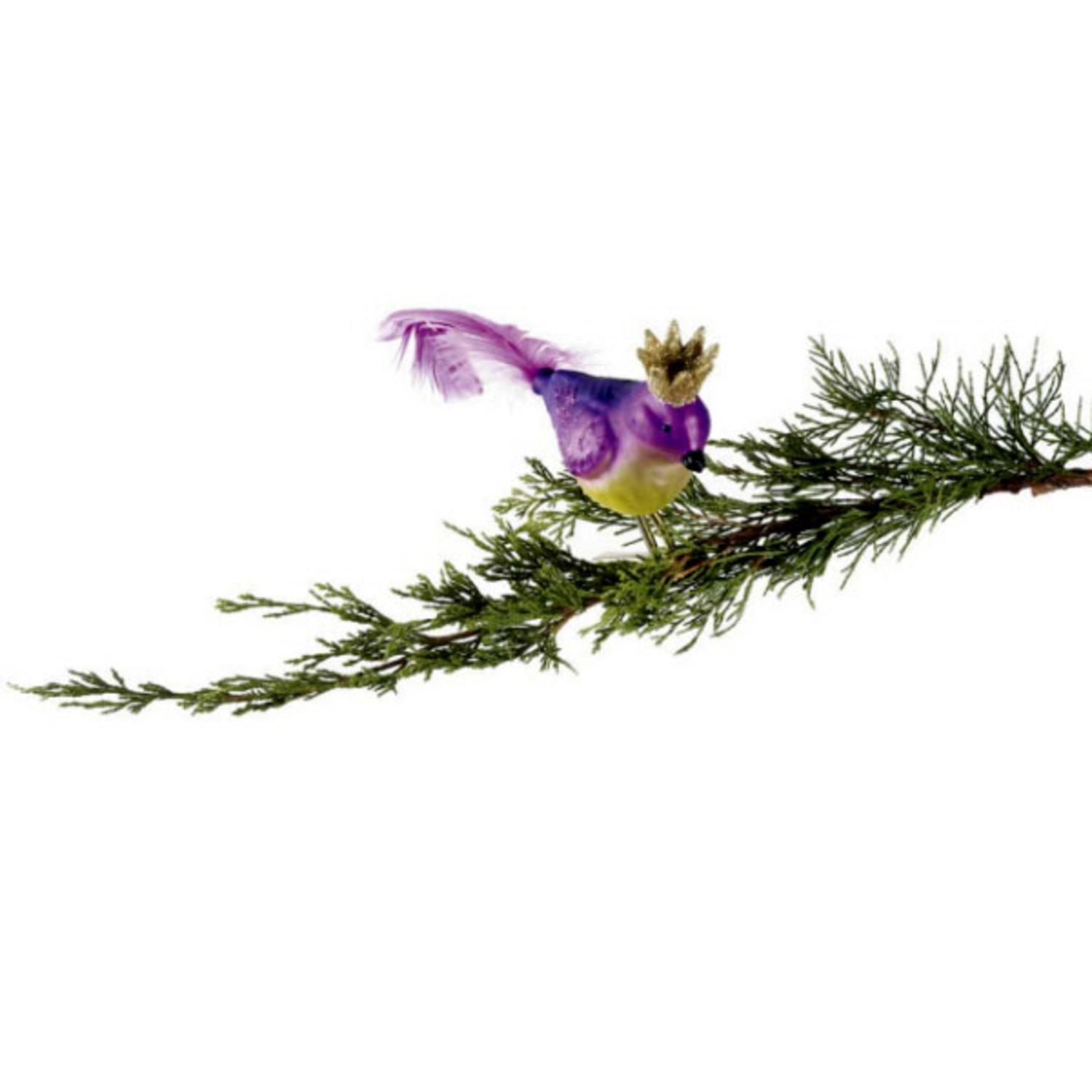 """Sugared Fruit Purple Glass Bird with Crown Clip-On Christmas Decoration 8"""""""