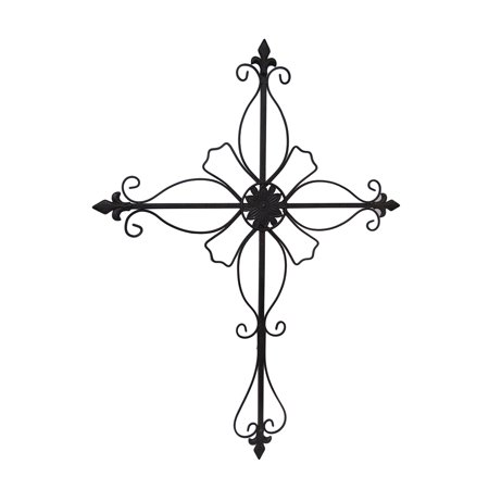 Floral Fleur De Lis Distressed Finish Wall Mounted (Floral Wall Cross)