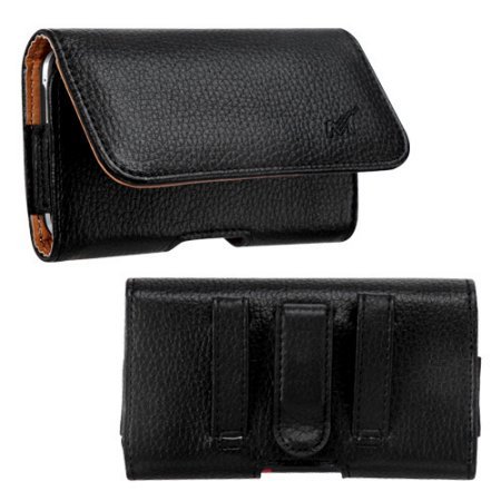 MUNDAZE Black Brown Leather Belt Clip Pouch Carrying Case for Google Pixel 2