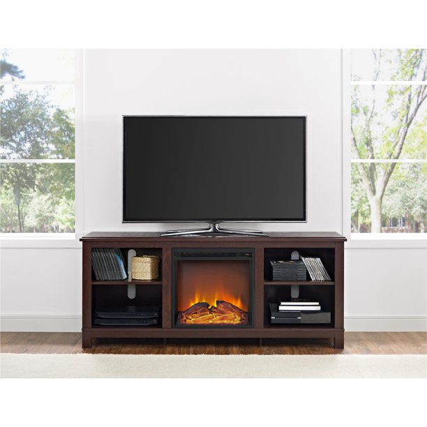 """Ameriwood Home Edgewood 65"""" TV Console with Fireplace for TV's up to 65"""" - Cherry Espresso"""