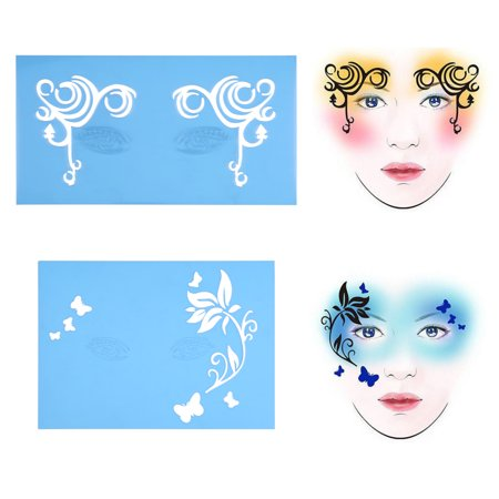 Vbestlife Facial Design Tools,7styles/set Reusable Face Paint Stencil Body Painting Template Flower Butterfly Facial Design, Body Painting Template (Halloween Face Painting Butterfly)
