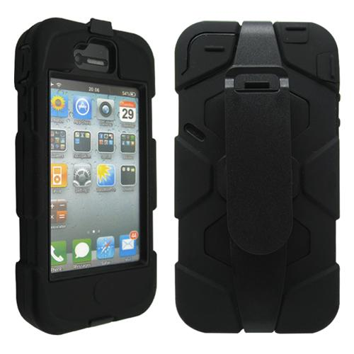 Black Three Layer Silicone PC Hard Case Cover Shell with Belt Clip Stand for iPhone 4 4G 4S