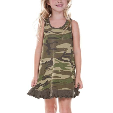Kavio! Little Girls 3-6X Camouflage A-Line Tank Dress Camo Army Green 5/6