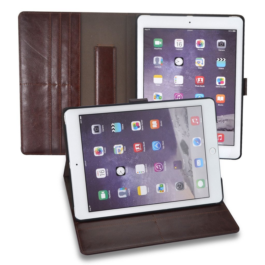 Selectect iPad pro 9.7 inch Apple iPad Cases Smart Covers PU Leather Folio Magnetic with Stand,Card Slot and Flip Cover Design,Shock Proof, Durable, Thin-Brown