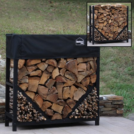 8' Straigth Firewood Log Rack with Kindling Kit with 1'