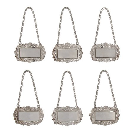 Silver Floral Blank Decanter Labels Plain Liquor Bottle Label Tag Set of 6 - Bottle Tags