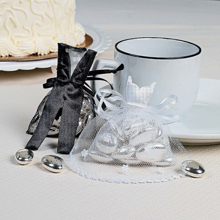 Bride And Groom Gift Bags (Lot of 24 Bride and Groom Satin and Tulle Wedding Party Favor)
