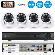 4CH 1080P Hybrid NVR AHD TVI CVI DVR Digital Video Recorder,4*960P AHD Dome IR CCTV Camera, 4*60ft Surveillance Cable,APP Control Motion Detection Night Vision for CCTV Security System NTSC System