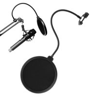 Tebru Studio Microphone Mic Wind Screen Mask Gooseneck Shield Pop Filter Double Layer Black, Pop Filter, Mic Mask