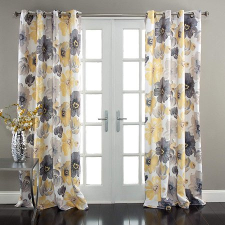 2 Piece Floral Room Darkening Window Curtain Panel Drape Set with Bronze Grommets (52