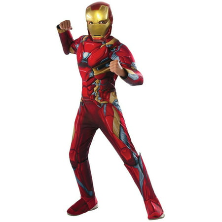 Marvel's Captain America Civil War Deluxe Iron Man Muscle Chest Child Halloween Costume (Kids Captain America)