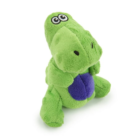 goDog® Dinos™ T-Rex Just for Me™ with Chew Guard Technology™ Durable Plush Squeaker Dog Toy, Green, Mini - Green Plush