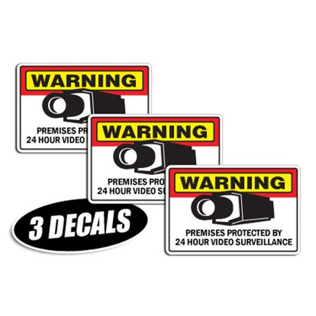 3 PACK - SECURITY SURVEILLANCE DECALS sticker decal label video warning cctv - Cctv Stickers
