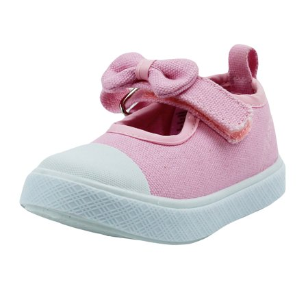 Stepping Stones Newborn Shoes for Baby Girls Pink Canvas Sneakers Mary Jane  Cloth Gym Shoes With Bow and White Rubber Bottom - Size 4 Cute Non-Skid  Infant ... 64780ce30