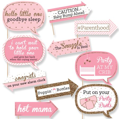 Funny Hello Little One Pink And Gold Girl Baby Shower Photo