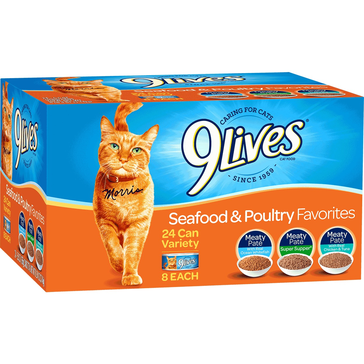 9Lives Seafood & Poultry Favorites Wet Cat Food Variety Pack, 5.5 Oz. Cans (24 Pack) by Big Heart Pet Brands