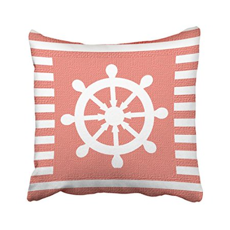 WinHome Square Throw Pillow Covers Retro Burlap Nautical Helm On Coral Stripes Print Pillowcases Polyester 18 X 18 Inch With Hidden Zipper Home Sofa Cushion Decorative - Carol Stripes Print