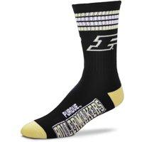 Purdue Boilermakers For Bare Feet Men's 4-Stripe Deuce Quarter-Length Socks - Men 11-12.5