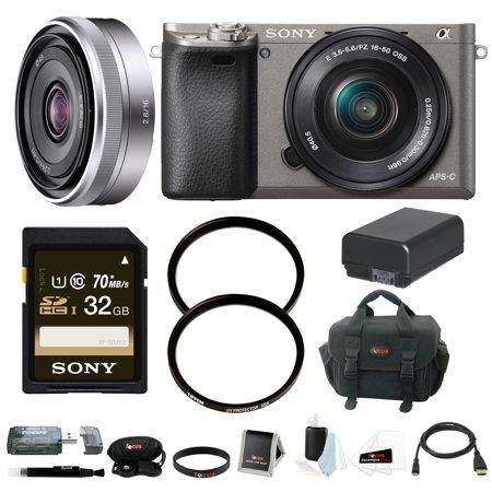 Sony Alpha A6000 Mirrorless Camera w/ 16-50mm & 16mm Lens Bundle - Graphite