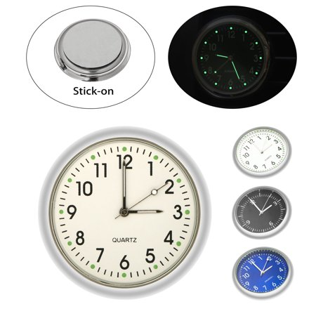 Pocket Mini Luminous Quartz Analog Watch Stick-On Clock for Car Boat Bike Home