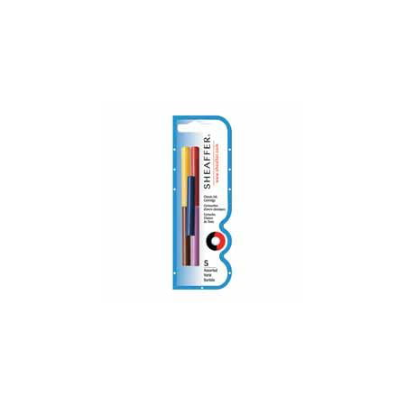 Sheaffer Pen : Skrip Ink Cartridges, 5/PK, Black/Red/Blue/Green/Purple -:- Sold as 2 Packs of - 5 - / - Total of 10 Each (Pen Ink Sheaffer)