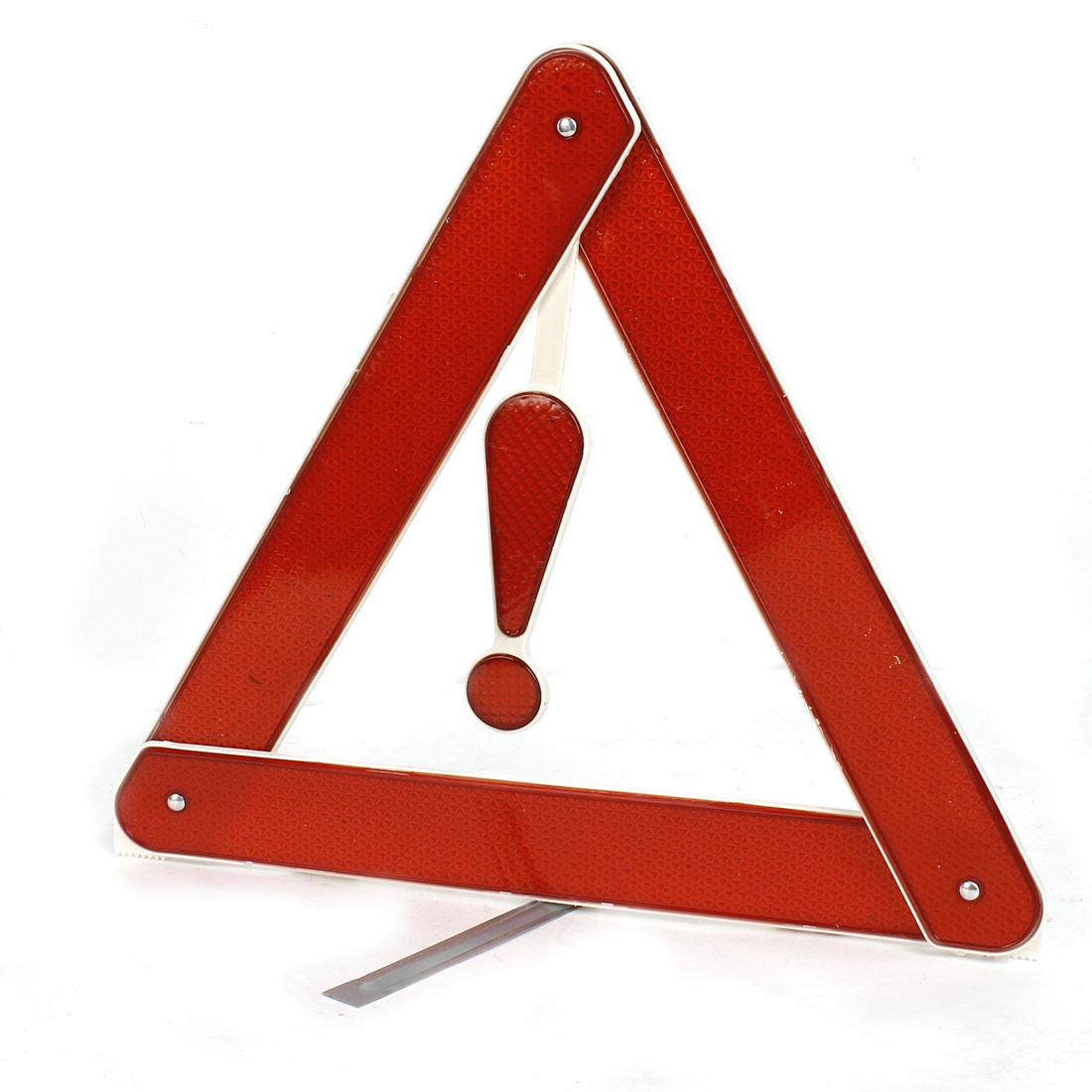 Unique Bargains Silver Tone Red Metal Bracket Plastic Safety Warning Reflecting Triangle for Car