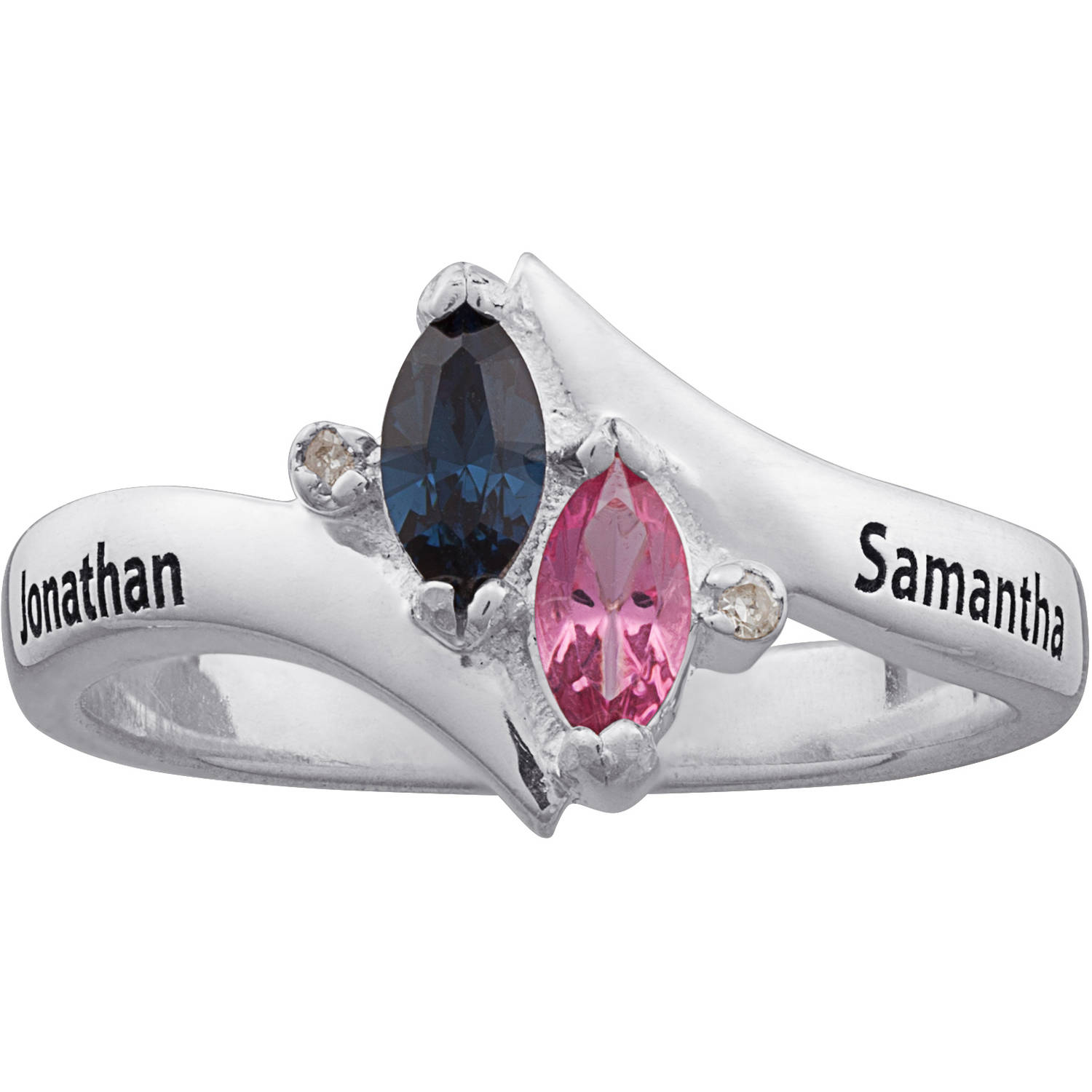 Personalized Sterling Silver Couple's Marquise Birthstone Name Ring with Diamond Accent