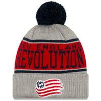 New England Revolution New Era Stripe Cuffed Knit Hat with Pom - Gray - OSFA