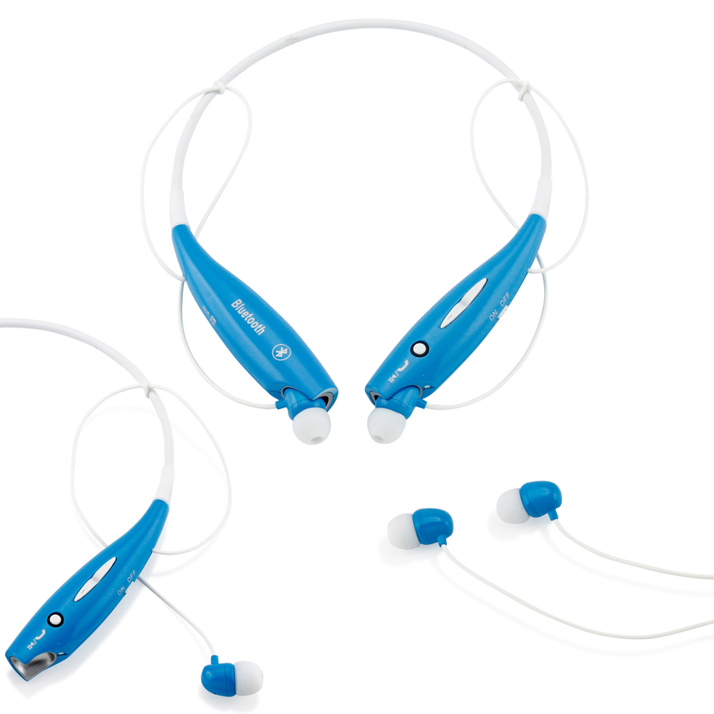 Wireless Stereo Bluetooth Sports Workout Gym Headset Neckband Earphone Earbuds Headphones for Cellphones iPhone Samsung Galaxy -Blue