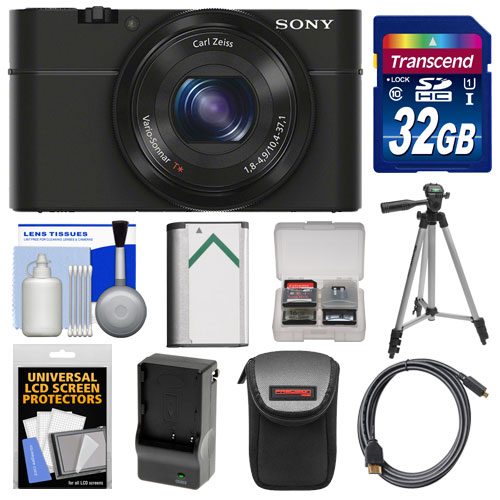 Sony Cyber-Shot DSC-RX100 Digital Camera (Black) with 32GB Card + Case + Battery & Charger + Tripod + HDMI Cable + Accessory Kit