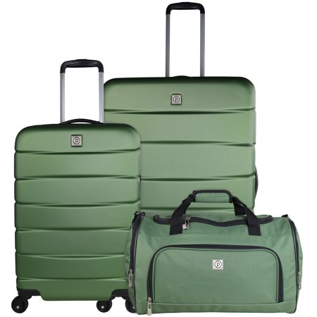 3 Piece Hard Side Spinner Set, Green