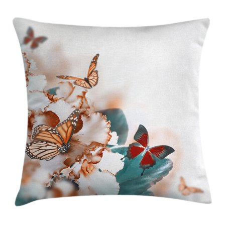 - Nature Throw Pillow Cushion Cover, Colorful Butterflies Flying over Violet Petals Flowers Spring Beauty Illustration, Decorative Square Accent Pillow Case, 18 X 18 Inches, Multicolor, by Ambesonne
