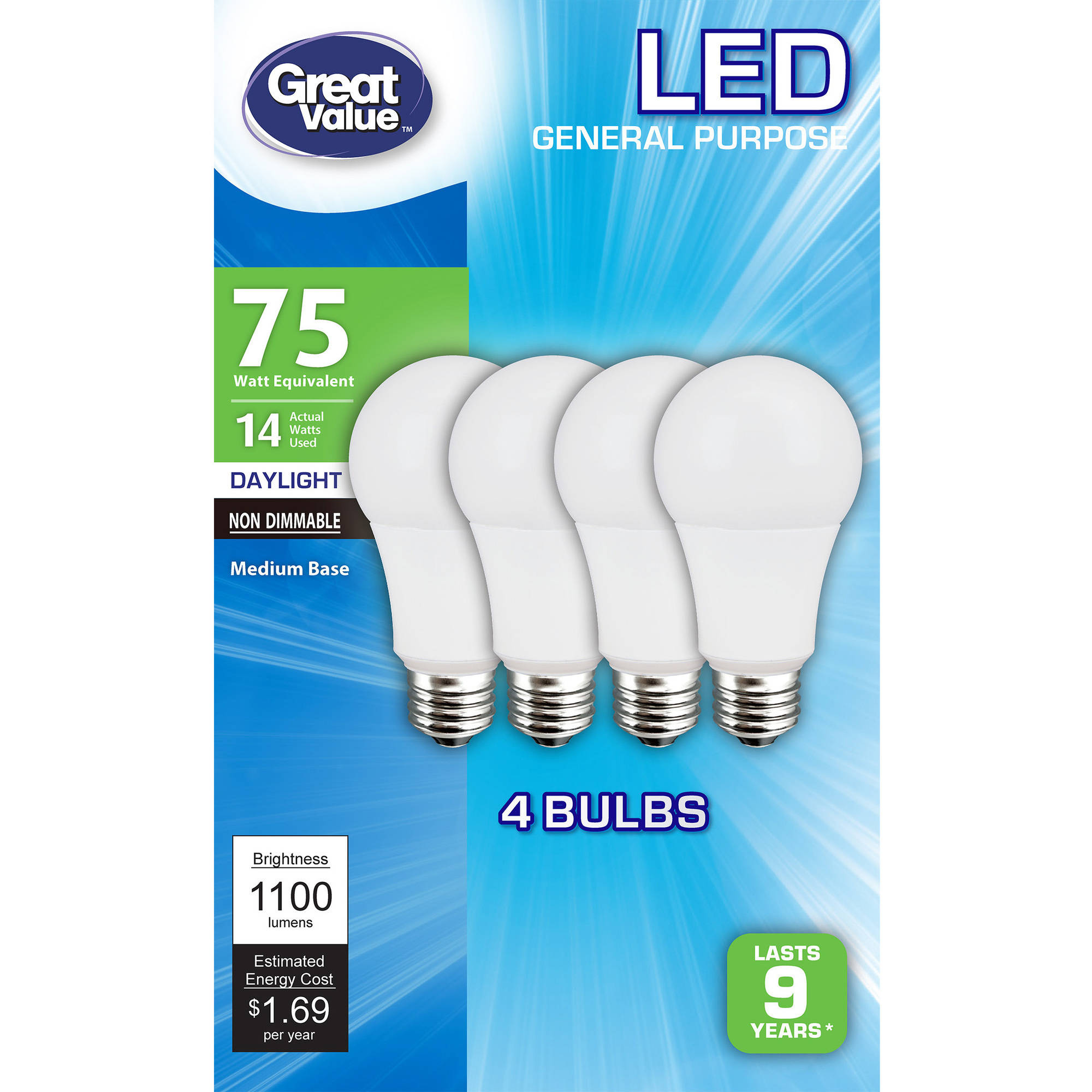 Great Value LED Light Bulbs 14W (75W Equivalent), Daylight, 4-Pack
