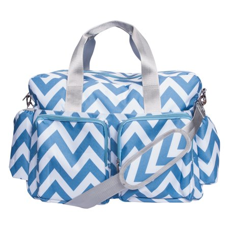 Trend Lab Blue & White Chevron Deluxe Duffle Diaper Bag