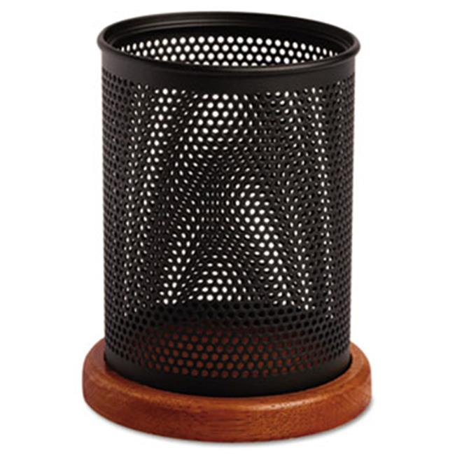 Eldon Office Products 1813862 Distinctions Metal and Wood Pencil Cup, 3 1/2 dia.  x 4 1/2, Black/Cherry