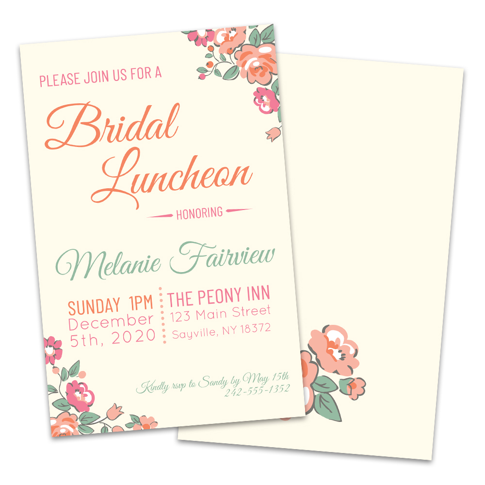 Personalized Ditsy Floral Bridal Luncheon Invitations