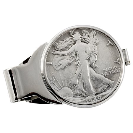 Silver Walking Liberty Half Dollar Silvertone Coin Money Clip