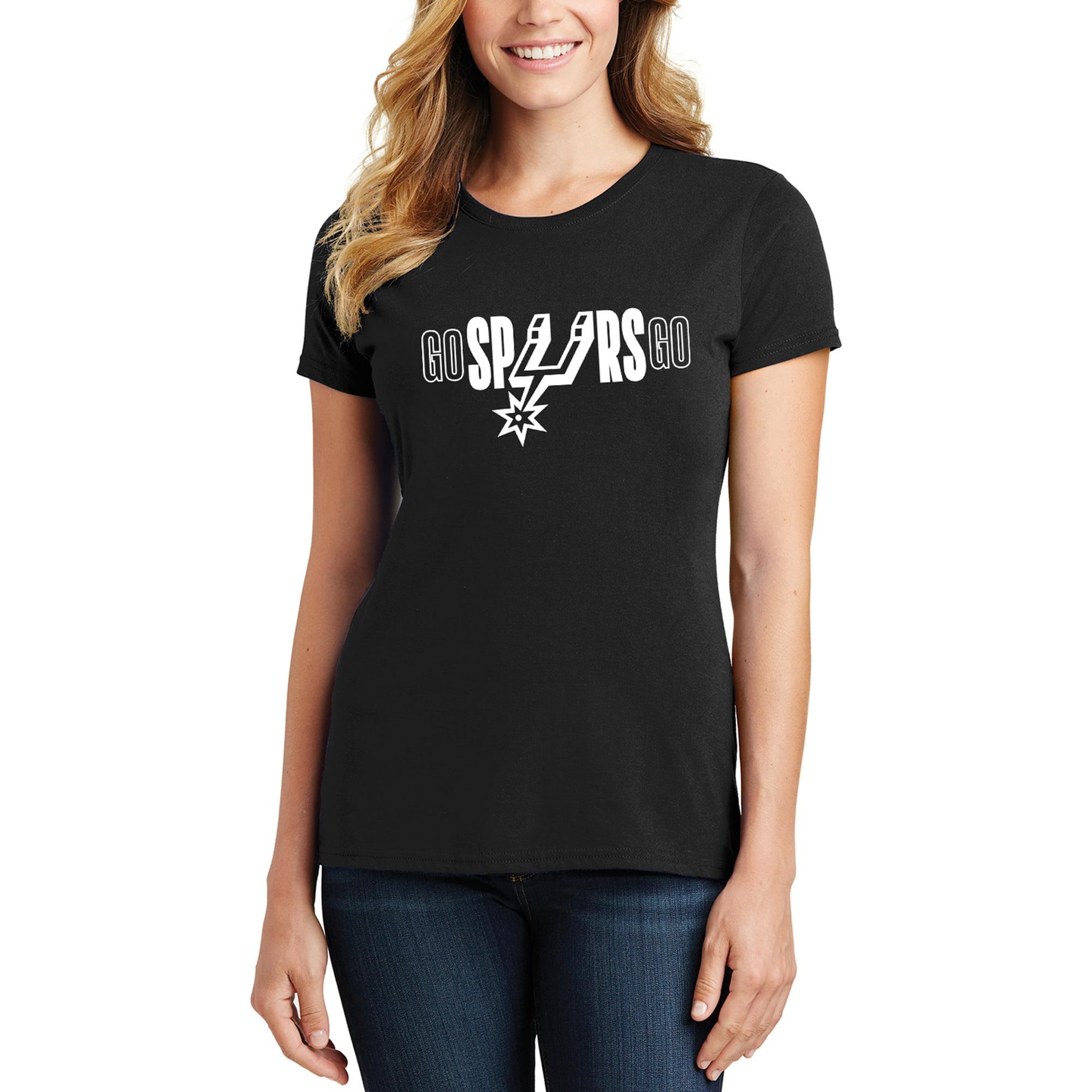 San Antonio Spurs Women's 2019 NBA Playoffs Bound Foil Applique T-Shirt - Black