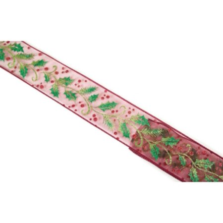 Burgundy Holly and Berries Print Wired Christmas Wedding Ribbon 2.5