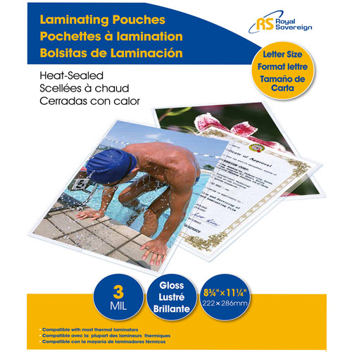 """Royal Sovereign Thermal Laminating Pouches, Letter Size, 8-3/4"""" x 11-1/4"""", 3mil, 100 Pack"""