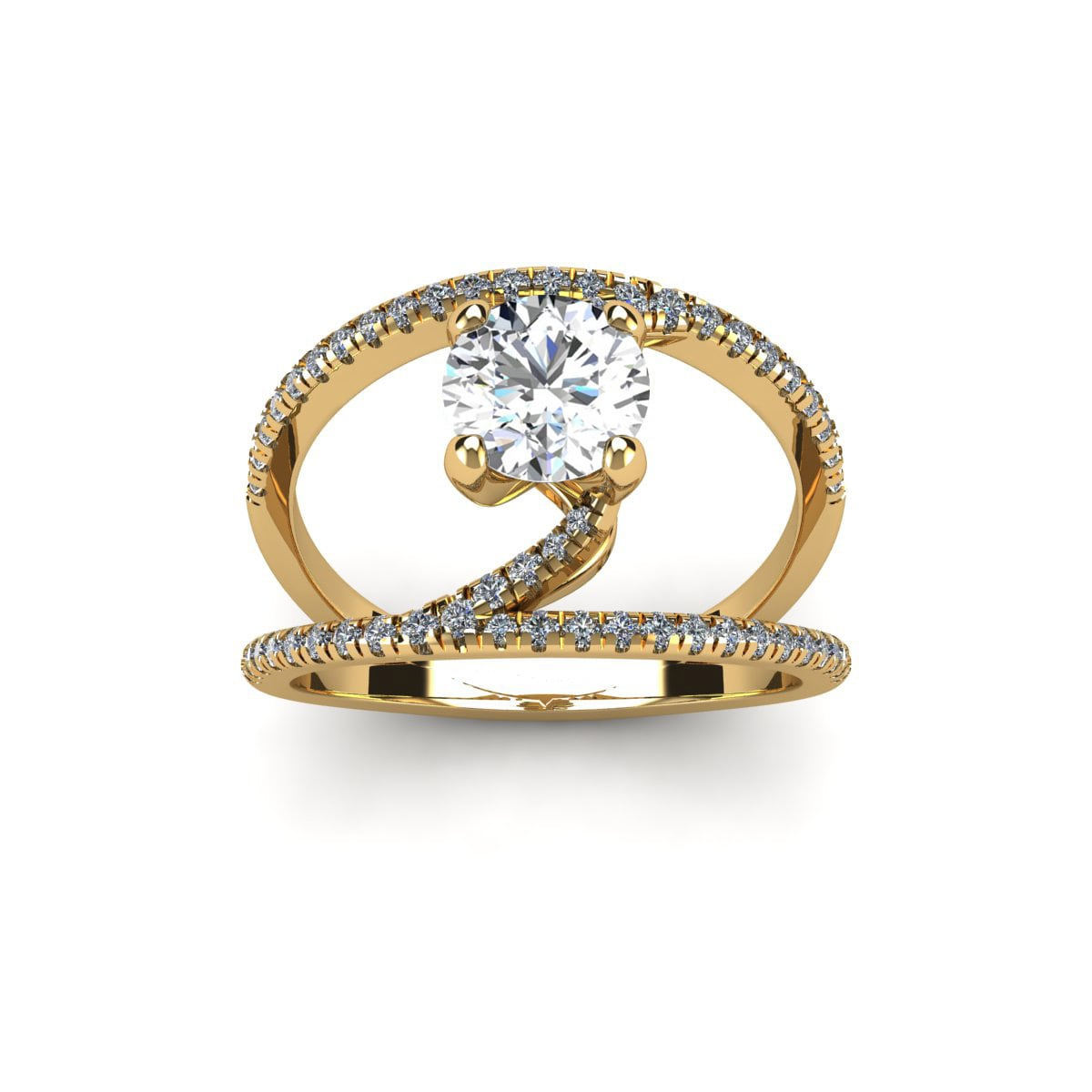SuperJeweler 14k Yellow Gold 1 1 2ct. Diamond Open Band Engagement Ring with 1ct. Clarity Enhanced Center Diamond White... by Overstock