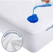 """Moonsea Waterproof Mattress Protector, Ultra Soft Bamboo Terry, with 18"""" Deep Pocket, White, California King"""