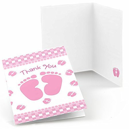 Baby Feet Pink - Baby Shower Thank You Cards (8 count) - Baby Shower Cards