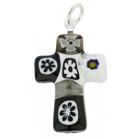 GlassOfVenice Murano Glass Black and White Millefiori Small Cross Pendant ()