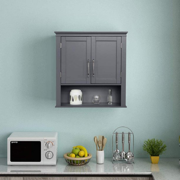 Bathroom Wall Cabinet Farmhouse Wooden Storage Organizer Cabinets For Bathroom Kitchen Living Room Laundry Room Wall Mounted Cabinets With Doors 23 23x8 07x24 81in Gray A1557 Walmart Com Walmart Com