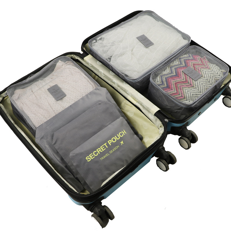 6 Pieces Packing Cubes Travel Storage Bags Travelling Luggage Organizer Pouch (Gray)